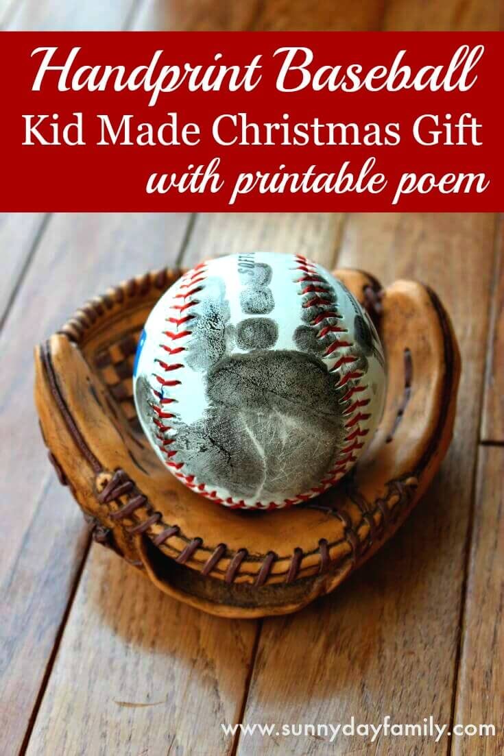 Make a Handprint Baseball - the perfect gift for baby's first Christmas or a Little League coach! Includes a free printable poem. Dads will love this easy kid made Christmas gift.