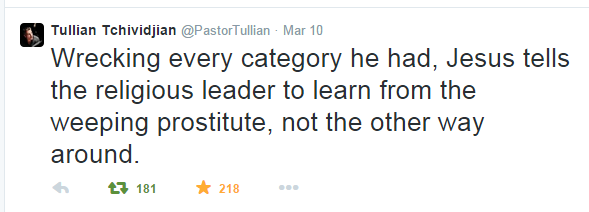 Tullian Tchividjian - Twitter - Wrecking every category ... Jesus tells the religious leader...