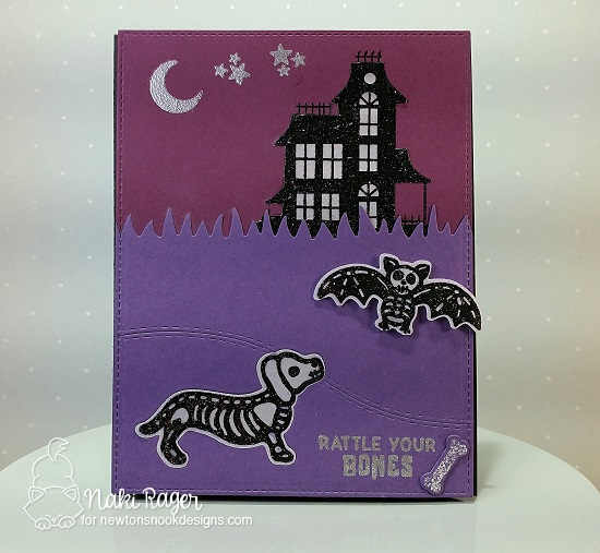 Halloween Skeletons Card by Naki Rager | Spooky Skeletons Stamp set by Newton's Nook Designs #newtonsnook #handmade #halloween