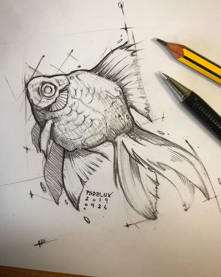 10-Goldfish-Psdelux-Animal-Drawings-www-designstack-co