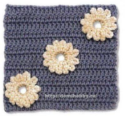 Cuadrado con Flores a Crochet