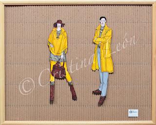 Ilustración pareja mostaza. Tamaño marco 52X42
