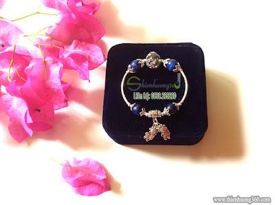 Vòng tay đá quý sapphia xanh kyanite mix bạc Thái 925