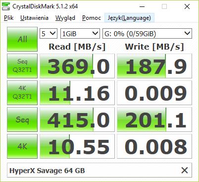 HyperX Savage 64 GB testowany przez CrystalDiskMark