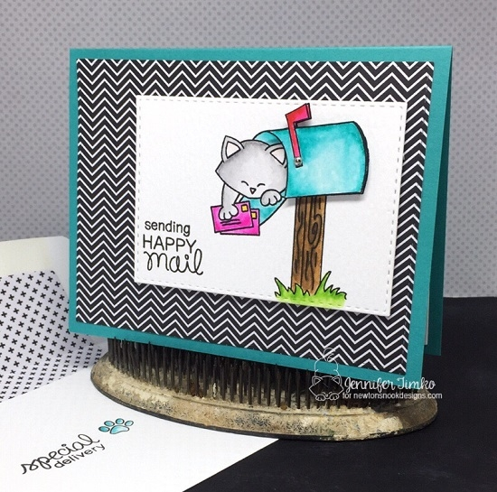 Cat in Mailbox Card by Jennifer Timko | Newton's Happy Mail stamp set by Newton's Nook Designs #newtonsnook #happymail