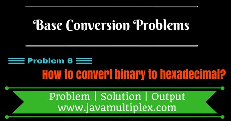 Java program that converts binary number to hexadecimal number.