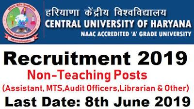 Central University Haryana Recruitment 2019