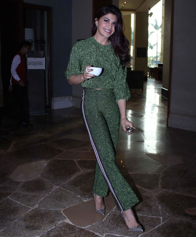 Jacqueline Fernandez In green dress At A Gentleman Film Promotion