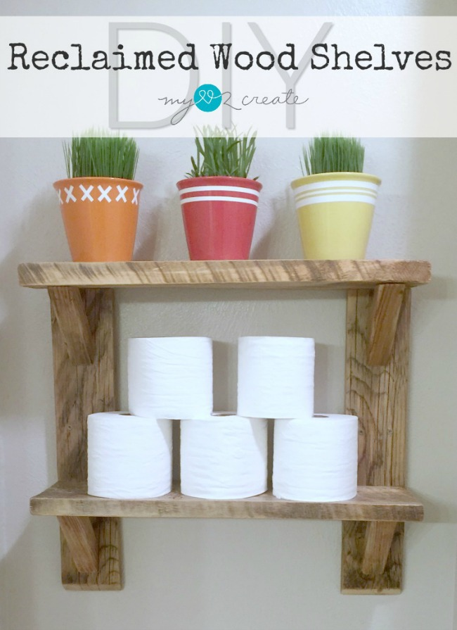 Easy to Build Wood Shelves made from reclaimed wood, full picture tutorial on MyLove2Create!