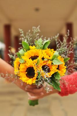 słonecznikowy bukiet ślubny