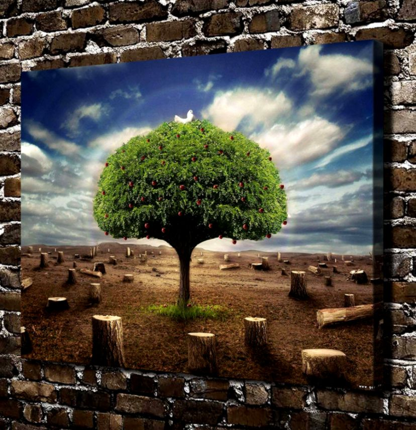 ₩10219 Natural Scenery Apple Tree Landscape HD Canvas Print Home
