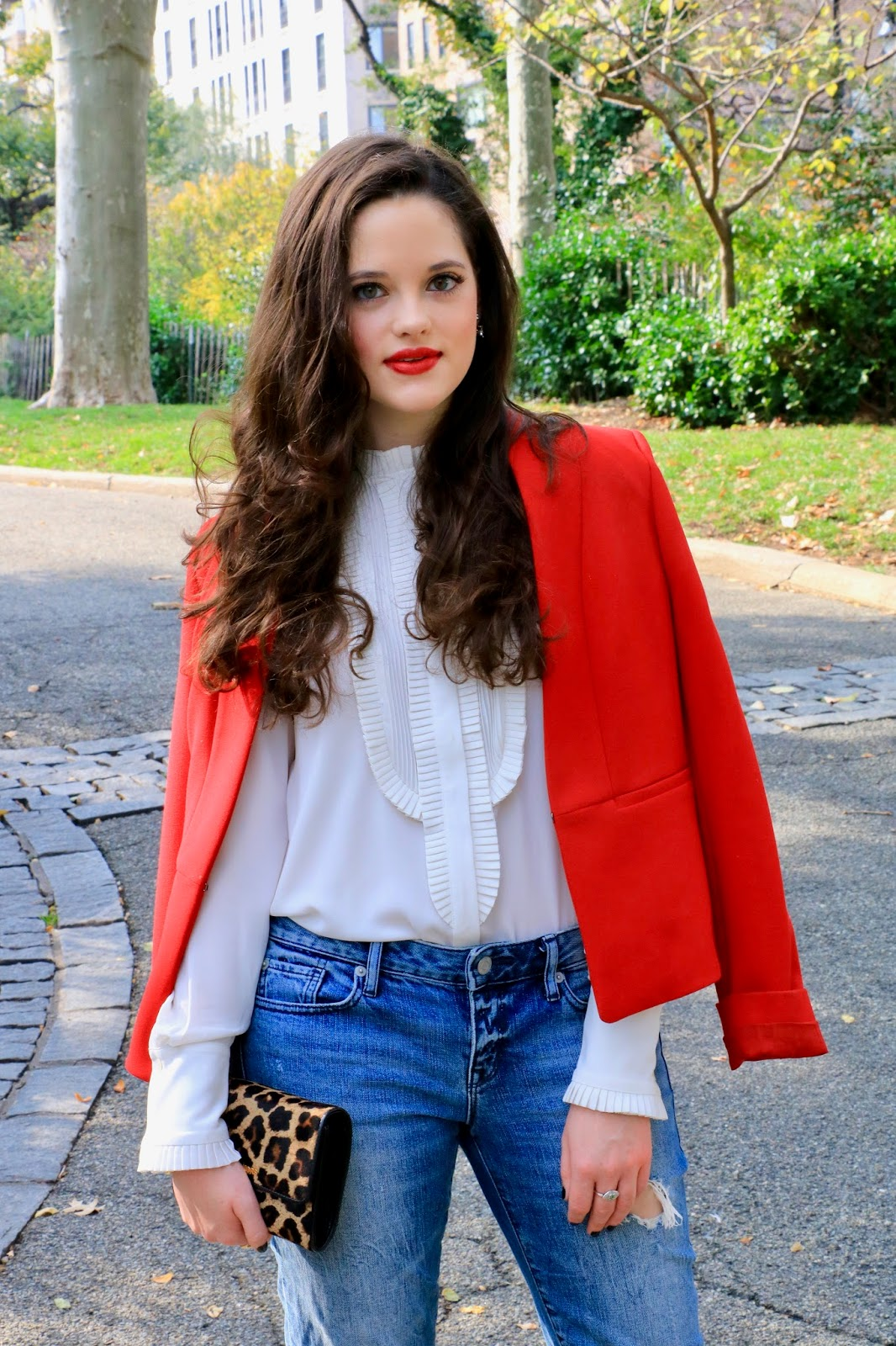 red blazer white blouse