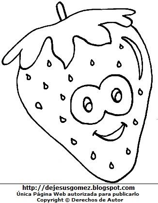 Imagen de una fresa con cara feliz para colorear o pintar. Dibujo de la fresa de Jesus Gómez