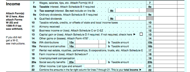 In this section of the 1040, you will list out ALL of your incomes from various sources.