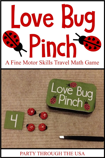 Love Bug Pinch Activity in an Altoid Tin // Party Through the USA // travel activities // DIY toys // ladybugs // homeschooling // math // STEM