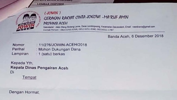 Jokowi ke Aceh, Kelompok Mengaku Relawan Minta Dana ke Kadis