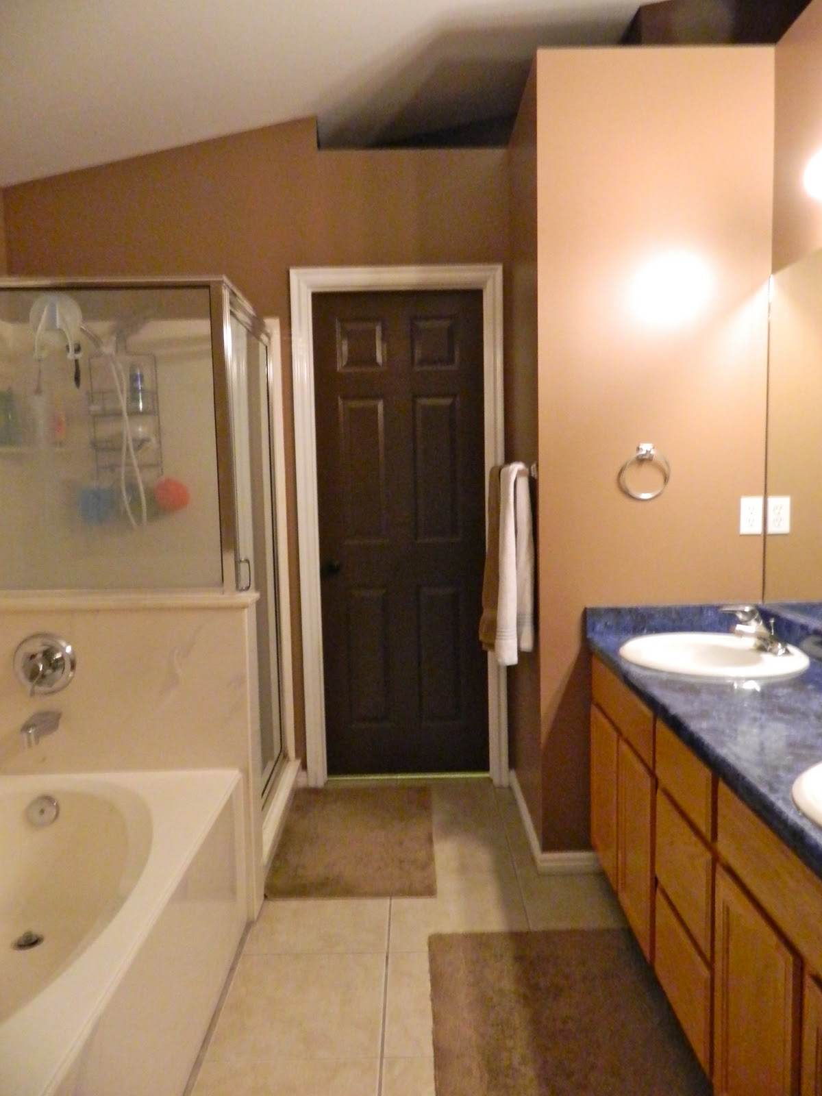 Bathroom With Blue Countertop