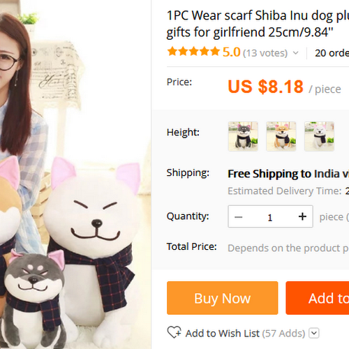 Valentine Gifts GirlFriend   1PC Wear Scarf Shiba Inu Dog Plush Toy Soft  Stuffed Dog Toy Good Valentines Gifts For Girlfriend 25cm/9.84