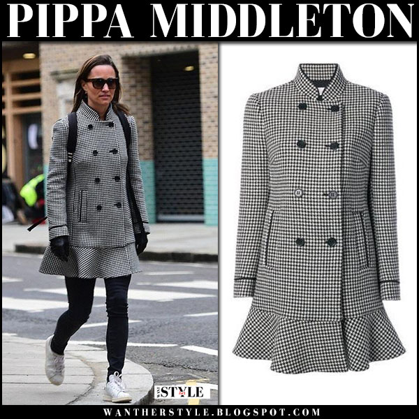 Pippa Middleton in peplum houndstooth coat valentino, black jeans and white sneakers street fashion february 14