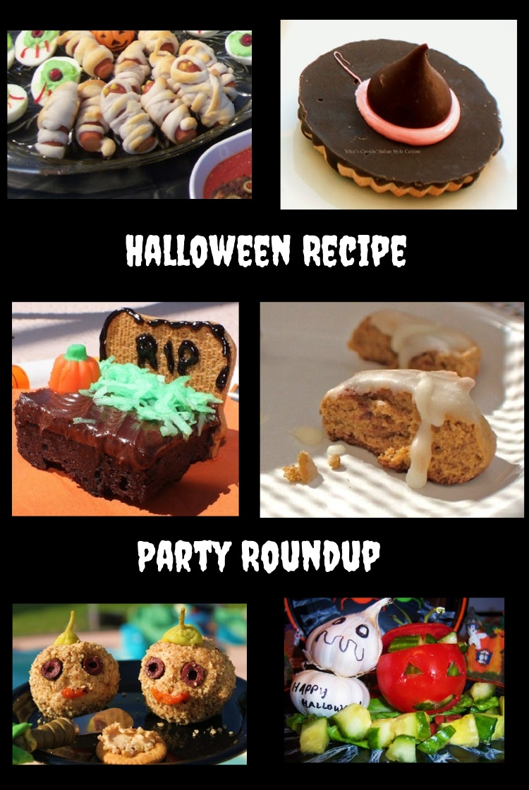 this is a collage of recipes for a halloween party with cheesecalls, pumpkin heads, ghoulish treats, brownies wiht head stones, pumpkin cookies and mummy's