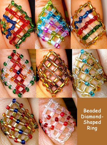 anillos, abalorios, bisutería, manualidades, rombos