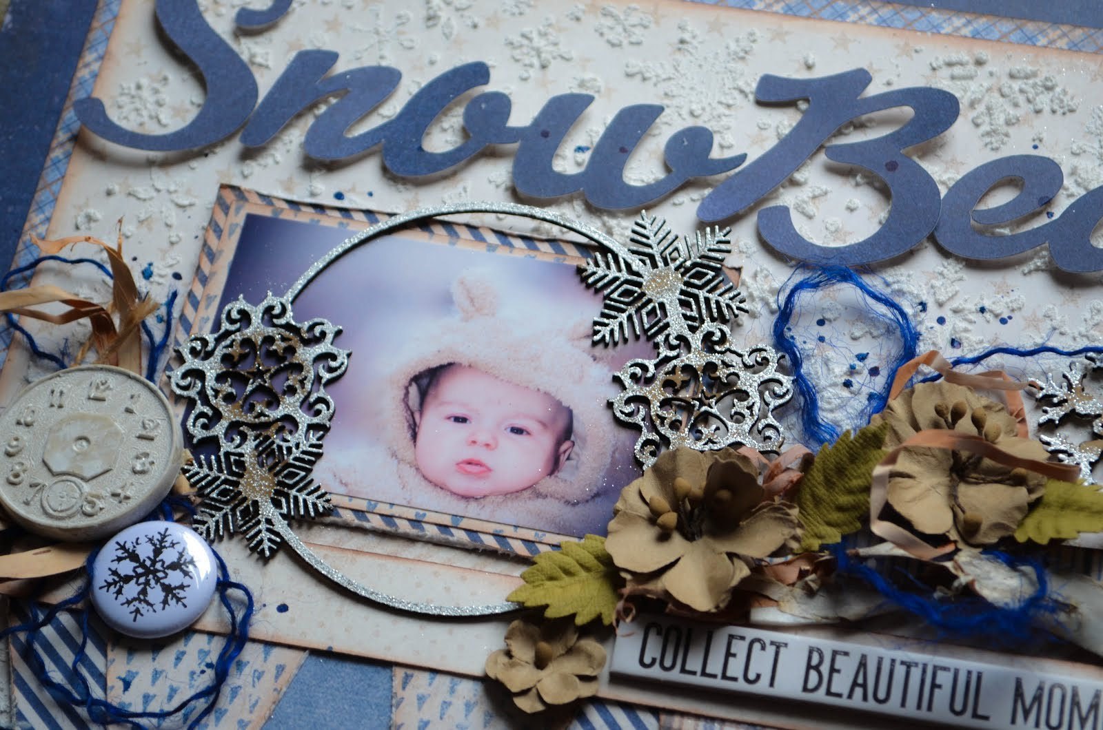 "Blue and white with beige Winter ""Snow Bear"" Scrapbook Layout with texture paste snowflakes, plaid, snowflakes, chipboard, flair with flowers by 49&Market"