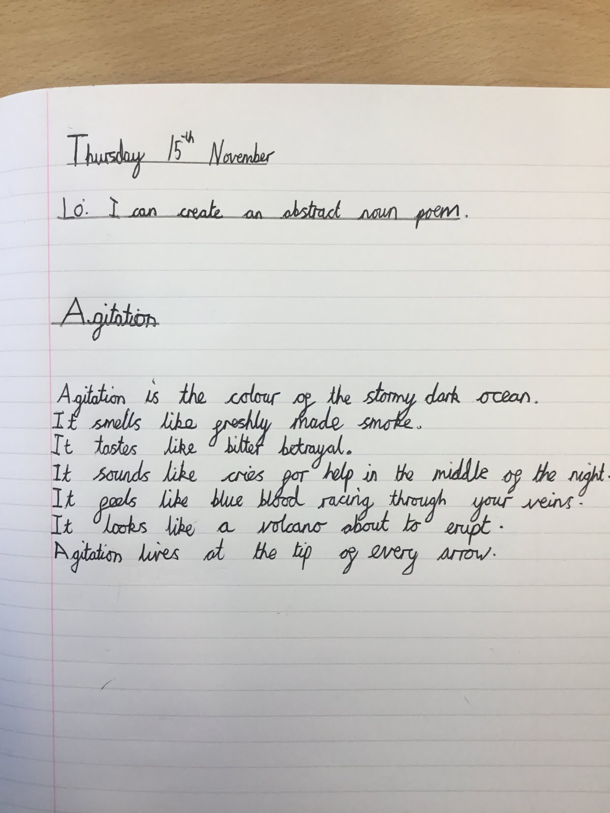 Year 6 Iveson Blog Abstract Noun Poetry