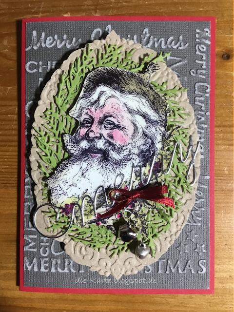 """Weihnachtsmänner"" La Blanche, ""Holiday Greens, Mini"" Sizzix, Tim Holtz; ""Merry Christmas"" Craft Concepts, Prägefolder; ""Joyous Celebration"" Stampin' up, Prägefolder"