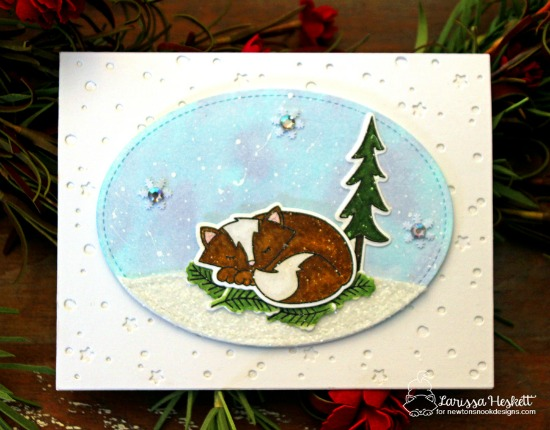 Winter Fox Card by Larissa Heskett | Fox Hollow Stamp set by Newton's Nook Designs #newtonsnook
