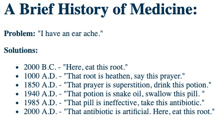 Funny Brief History of Medicine List Picture