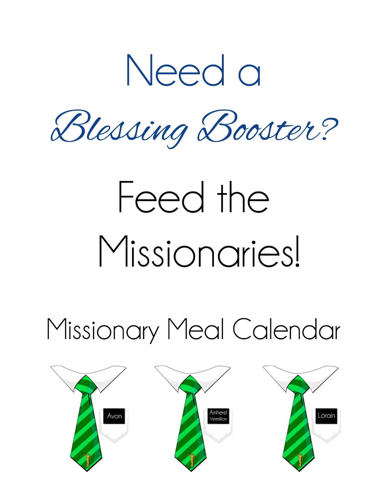 Meal Calendar | Relief Society Midweek Meeting Activities Missionary Meal Calendar