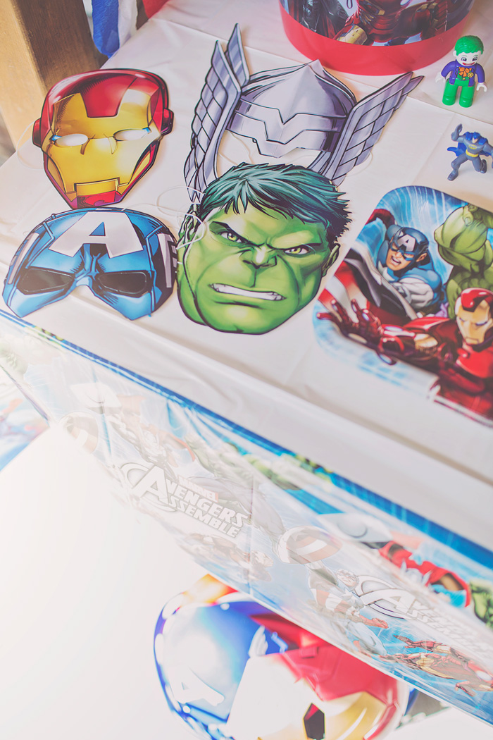 Avengers party photobooth face masks
