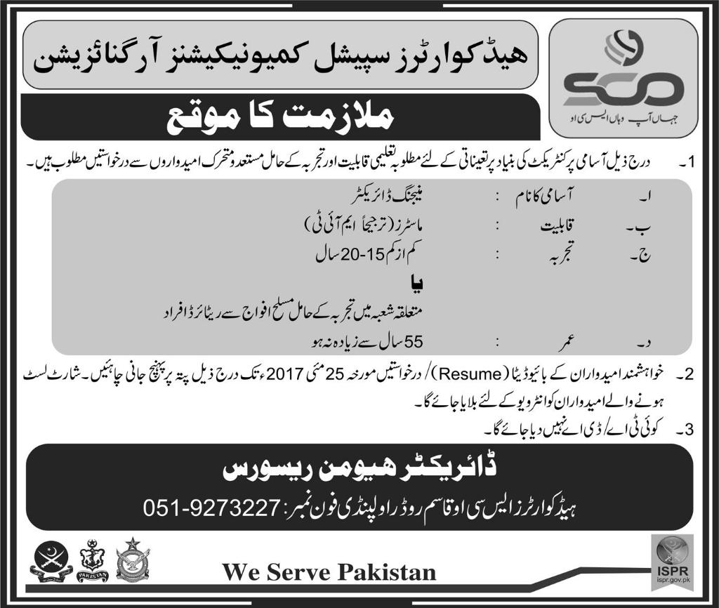 SCO Contrect  Jobs In Special Communications Organization rawalpindi 19 May 2017