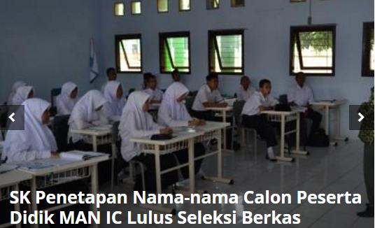 Penetapan Nama-Nama Calon Peserta Didik Baru Madrasah Aliyah Negeri Insan Cendekia Yang Dinyatakan Lulus Seleksi Berkas Tahun Pelajaran 2016/2017