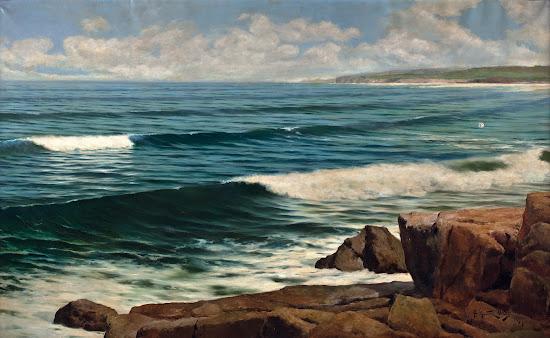 Marea y rocas, Juan  Martínez Abades Pintor español, Paisajes de Juan  Martínez Abades, Pintores españoles , Pintores Asturianos