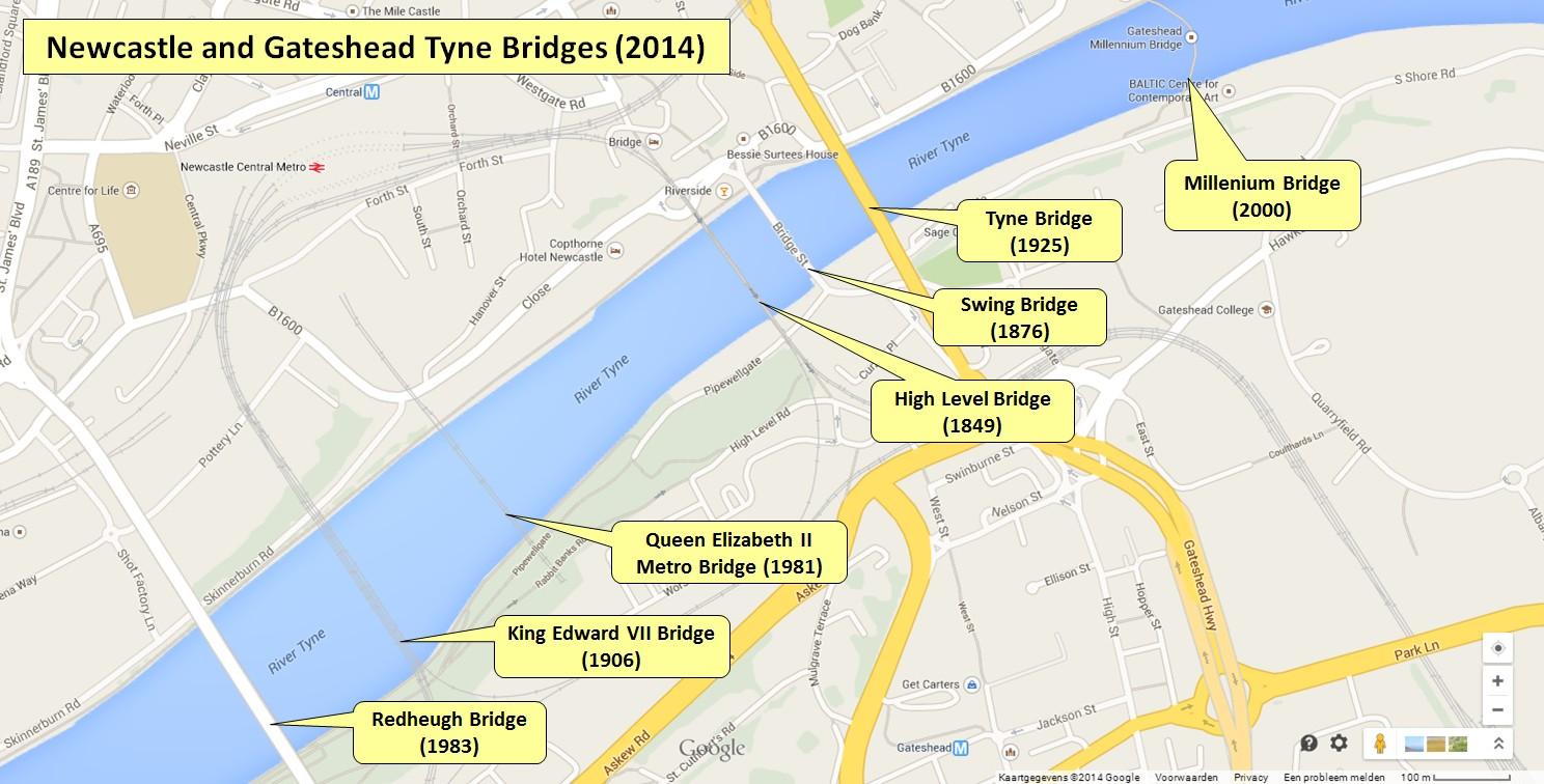 Карта мостов города Ньюкасл