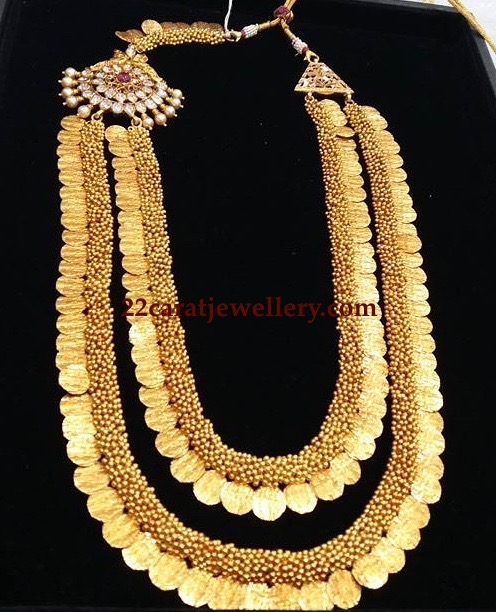 Two layer Gold Swirls Kasu Mala with Pachi Motif