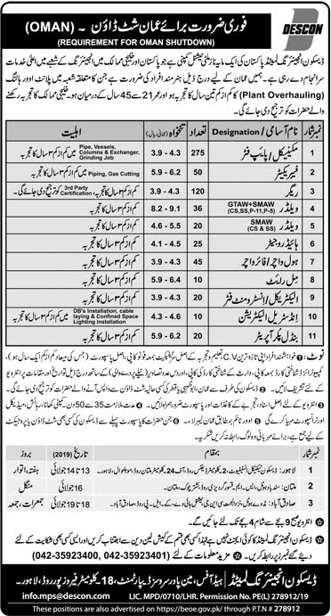 DESCON Engineering Jobs 2019 for 730+ Oman Shutdown Vacancies Advertisement Latest