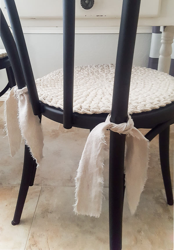 adding farmhouse charm to  kitchen chairs