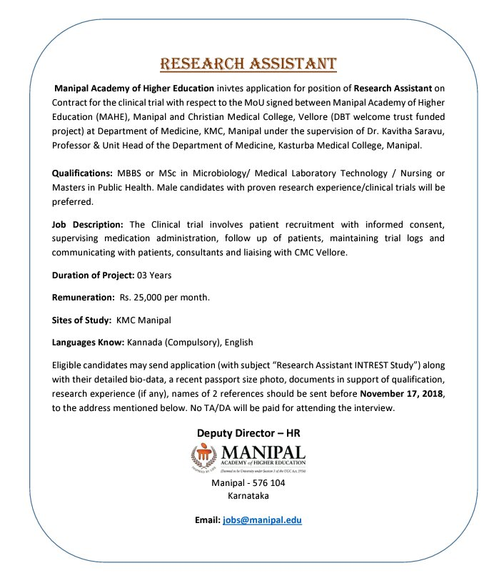 Msc Research Assistant position vacant @ Manipal - YourBiotech