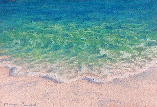 A soft pastel painting of scene from Bamboo island by Manju Panchal