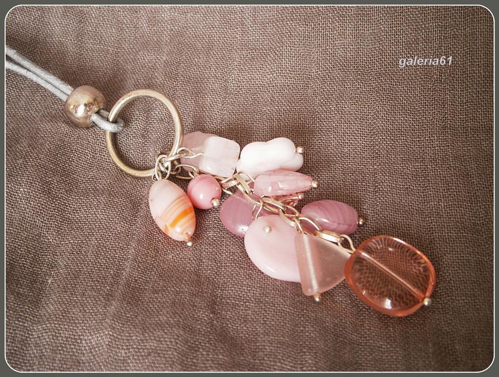 bransoletka, kolczyki, wisiorek, komplet biżuterii - pudrowy róż