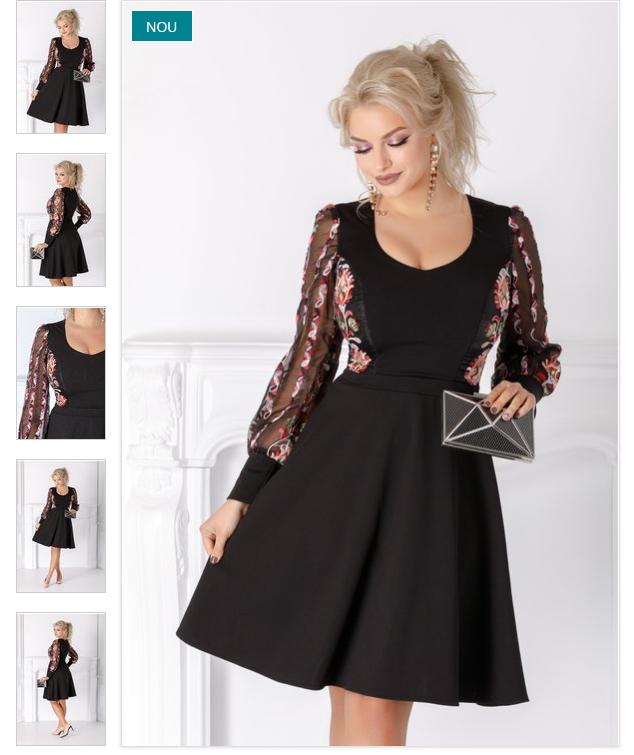 Rochie neagra eleganta cu broderie florala maneci lungi cu mansete