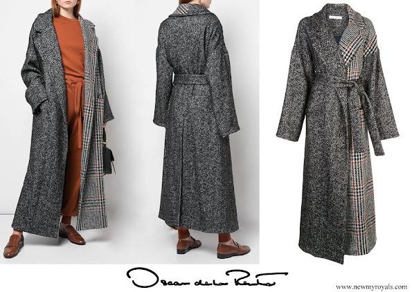 Queen Maxima wore OSCAR DE LA RENTA mixed check belted coat