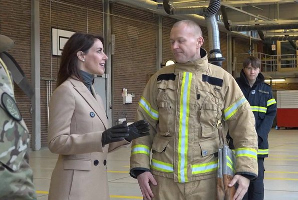 Princess Mari wore By Malene Birger Torun Winter coat. Princess Marie visited emergency service of Danish Emergency Management Agency