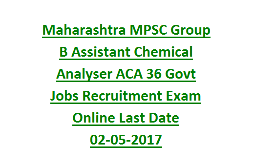 Maharashtra MPSC Group B Assistant Chemical Analyser ACA 36 Govt