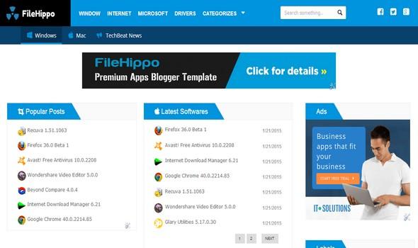 FileHippo adalah template blogger premium yang terinspirasi dari situs web FileHippo
