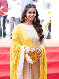 Keerthy Suresh in Yellow Dress With Cute and Lovely Smile for New Movie Launch 4