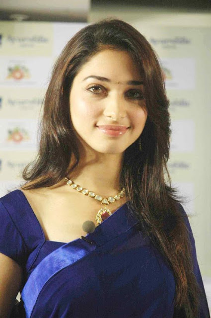Tamanna Sexy In Blue Transparent Saree Blouse  Film -8272