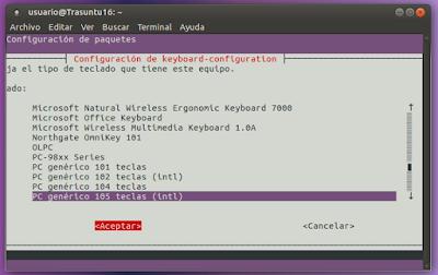 Configuración de teclado PC genérico